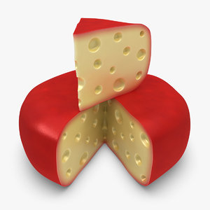 3d model gouda cheese wheel red