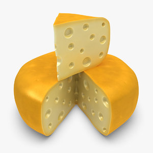 3d gouda cheese wheel yellow