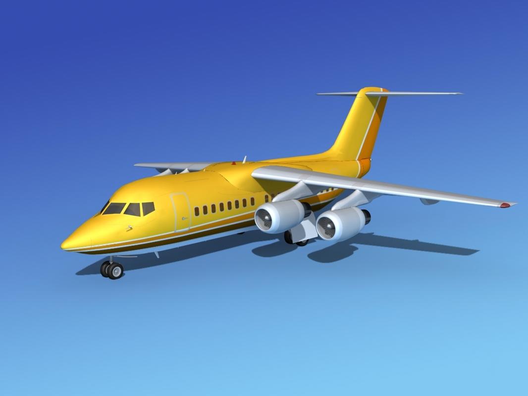 turbines bae 146 aircraft 3d obj