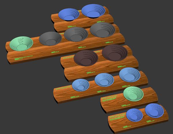 3d model simple plastic gold pans
