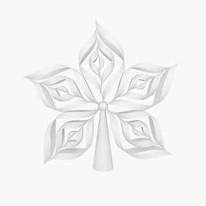 3d model origami snowflake tree topper