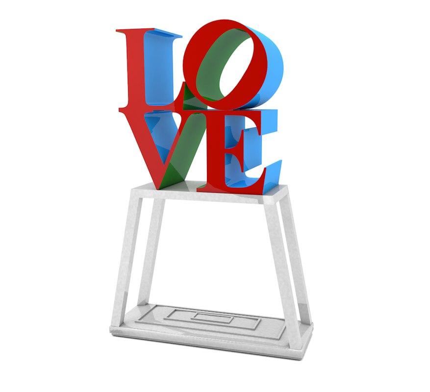 3d model of love park sign pa