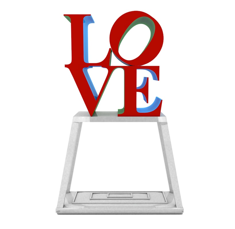 3d Model Of Love Park Sign Pa