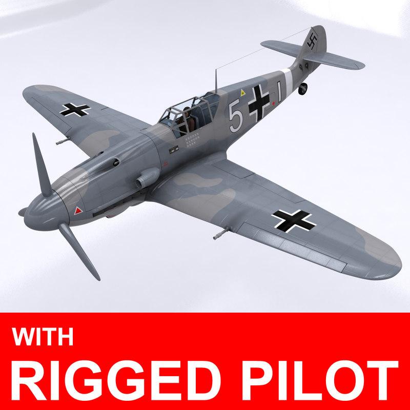 pilot messerschmitt bf-109 3d max
