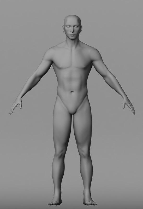 maya male body base mesh