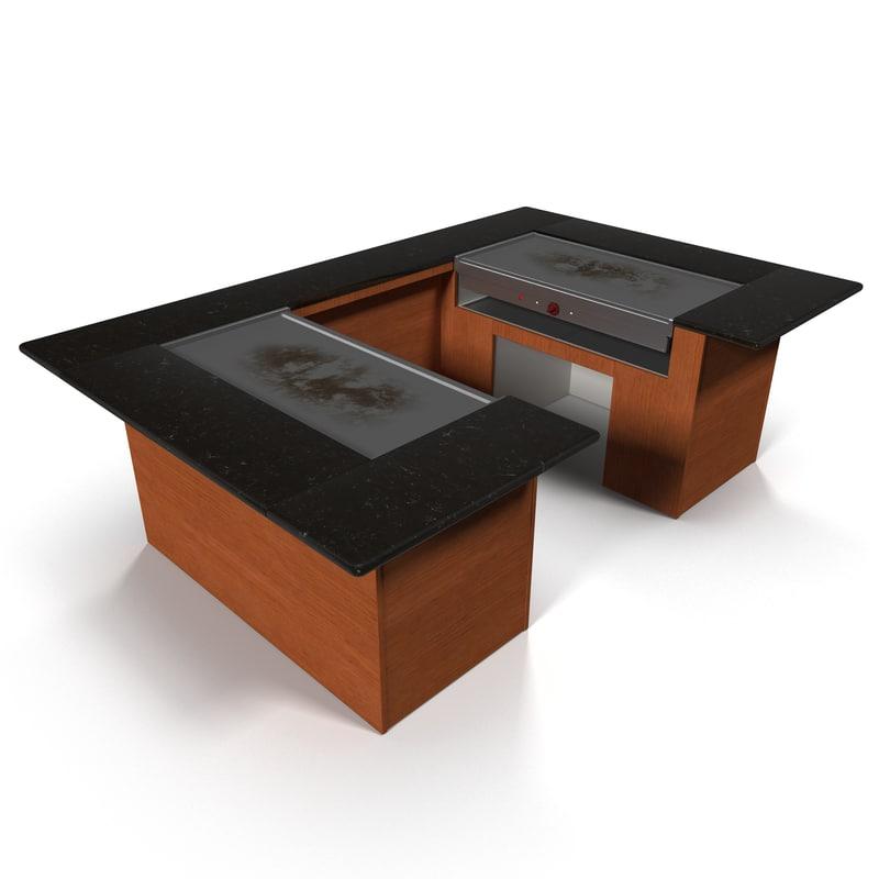 hibachi grill table 3d model