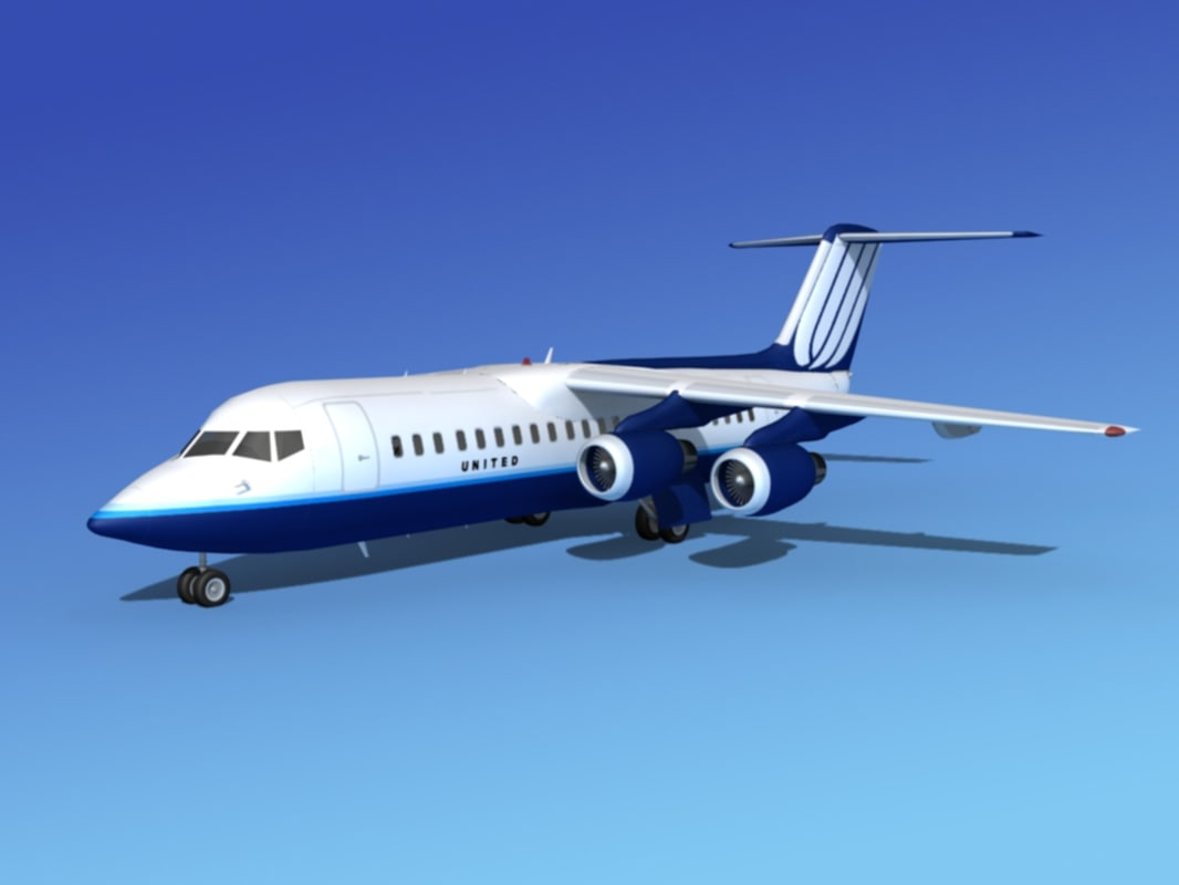 3d bae 146 united airliners model