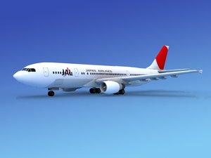 3d airline airbus a300 air model