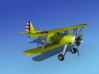 3d model pt-17 stearman trainers