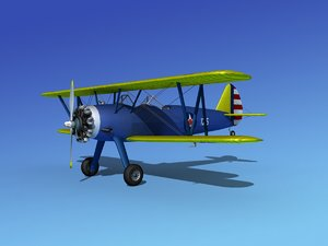 pt-17 stearman trainers 3d model