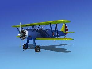 pt-17 stearman trainers 3d model