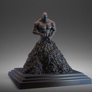 man bodybuilder figurine 3d obj