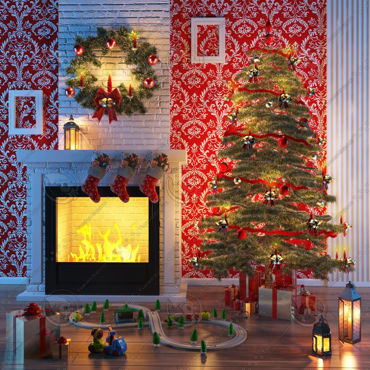 3d model christmas fireplace