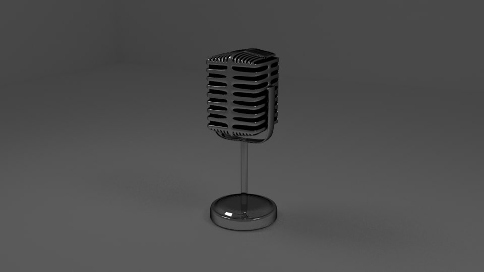 3d model old style microphone