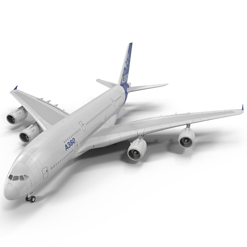 jet airliner airbus a380 3d model