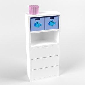 3d white bookstand