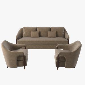 3d baker hermano sofa chair model