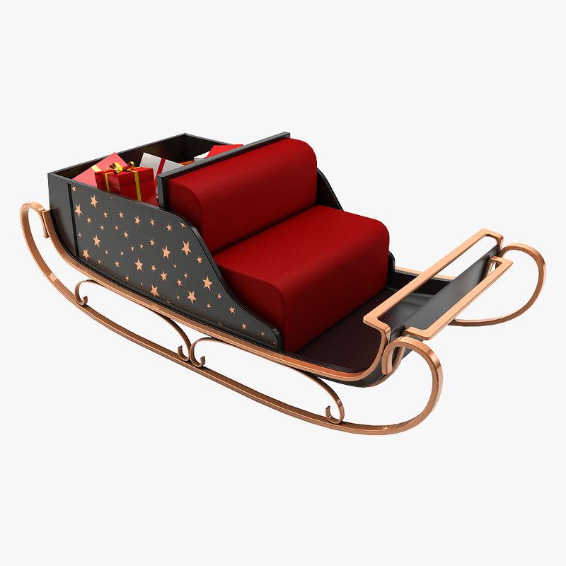 christmas santa sleigh 3d max