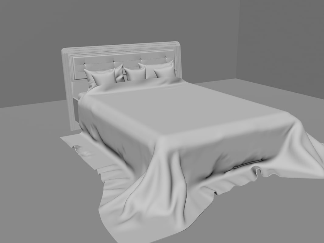 3ds max high-detailed bed