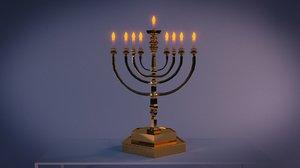 3d model hanukkah menorah