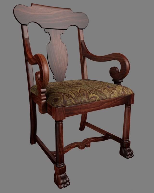3dsmax american empire chair