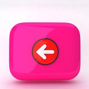 3d model icon arrow backward