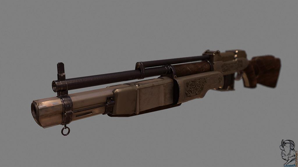 3d model combo rifle comborifle