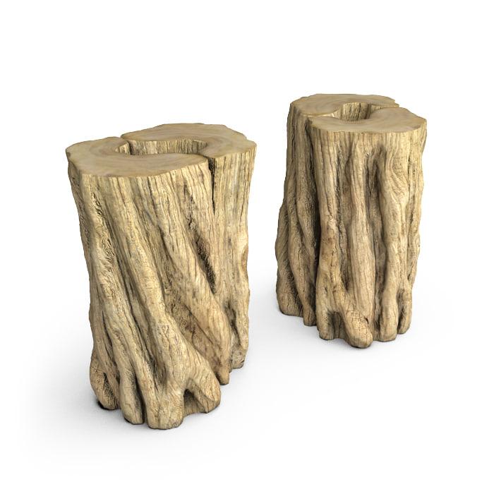 3d hudson teak stumps end table