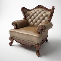 Single person classic leather armchair