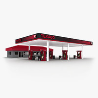 texaco gas station convenience store 3d max
