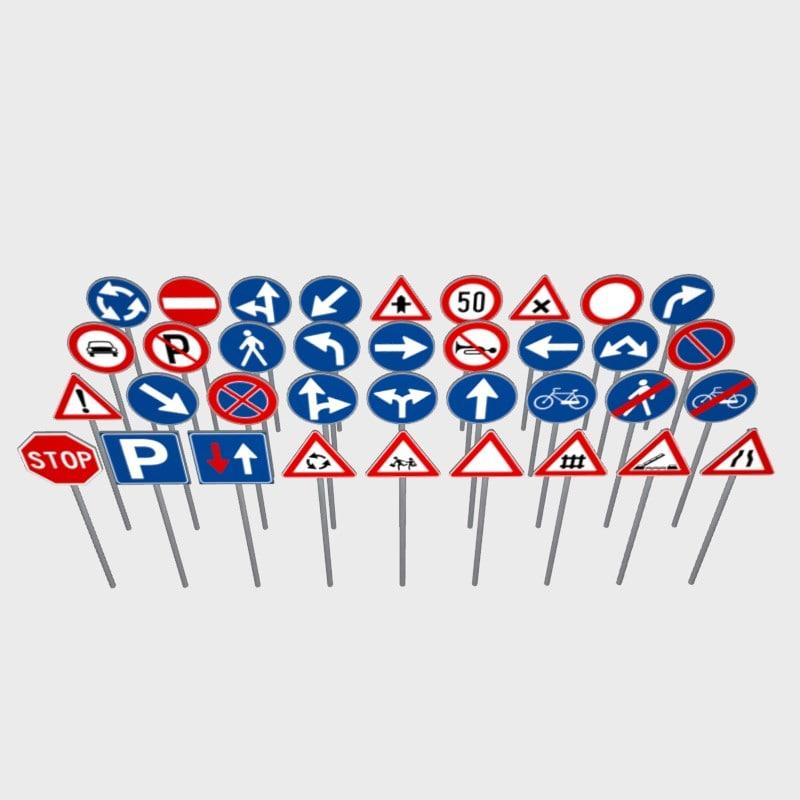 36 road signs 3d fbx