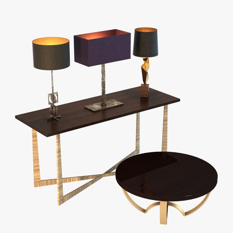3ds max set lamps table porta