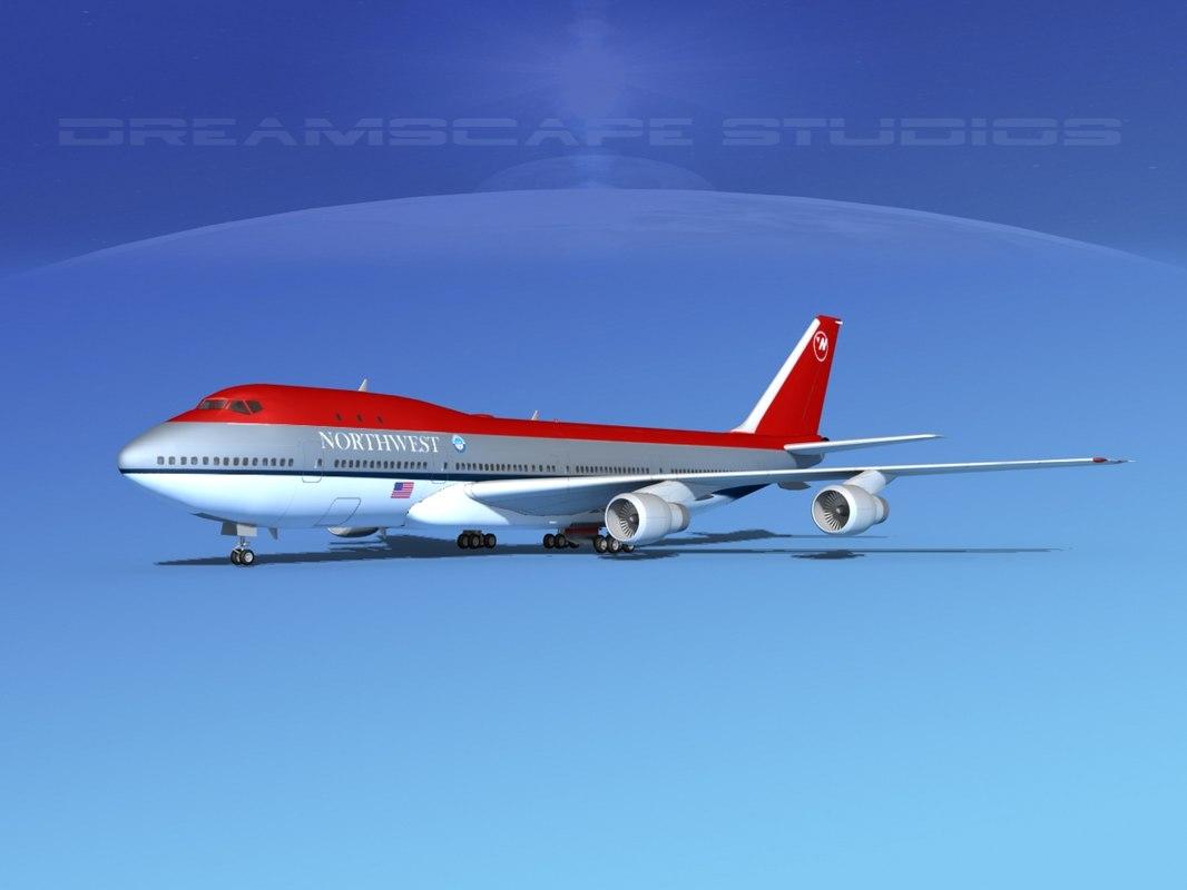 747-100 airline boeing 747 3d model