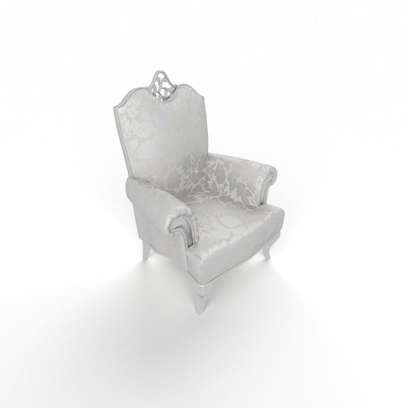 3d model classic sofa single