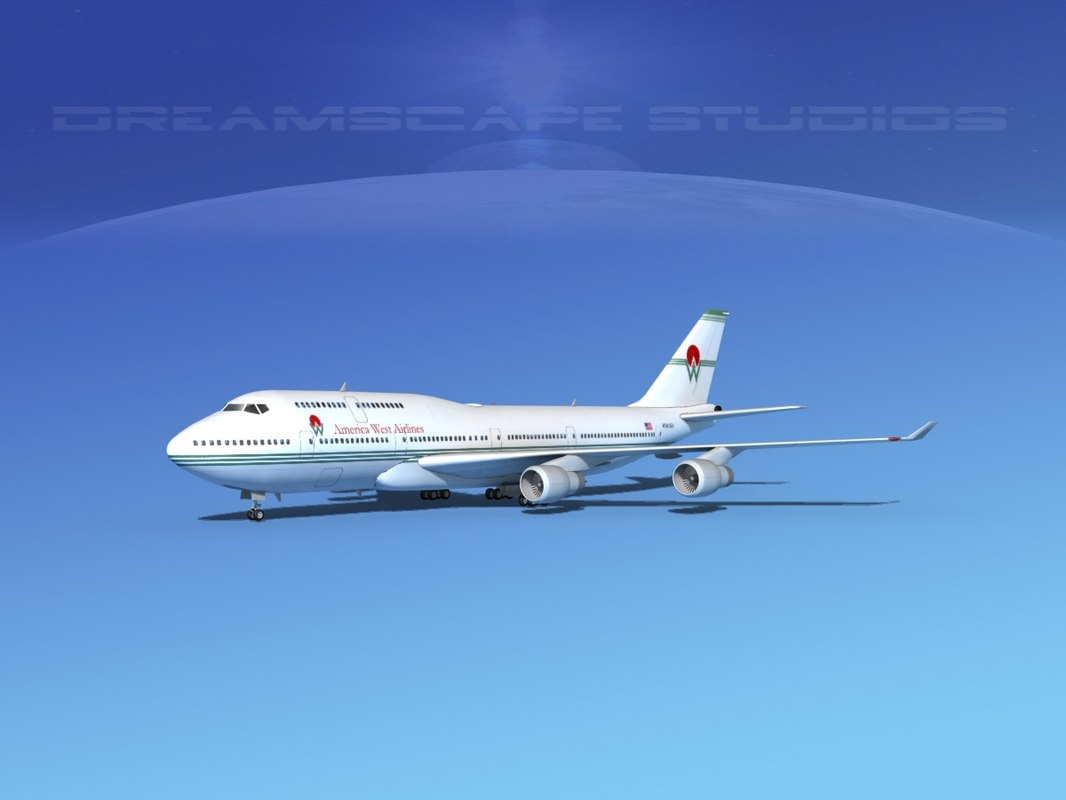 3d model airline boeing 747-400 747 aircraft