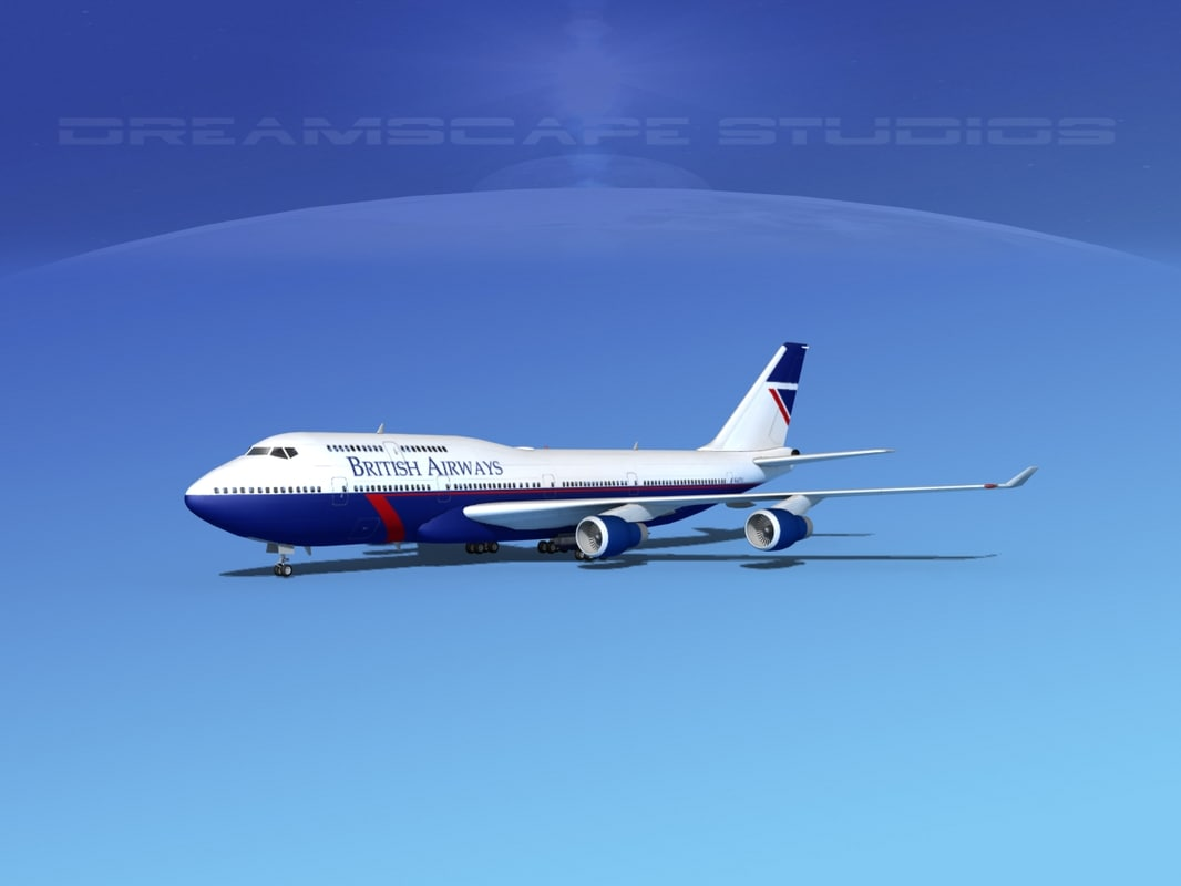 airline boeing 747-400 747 aircraft 3d 3ds