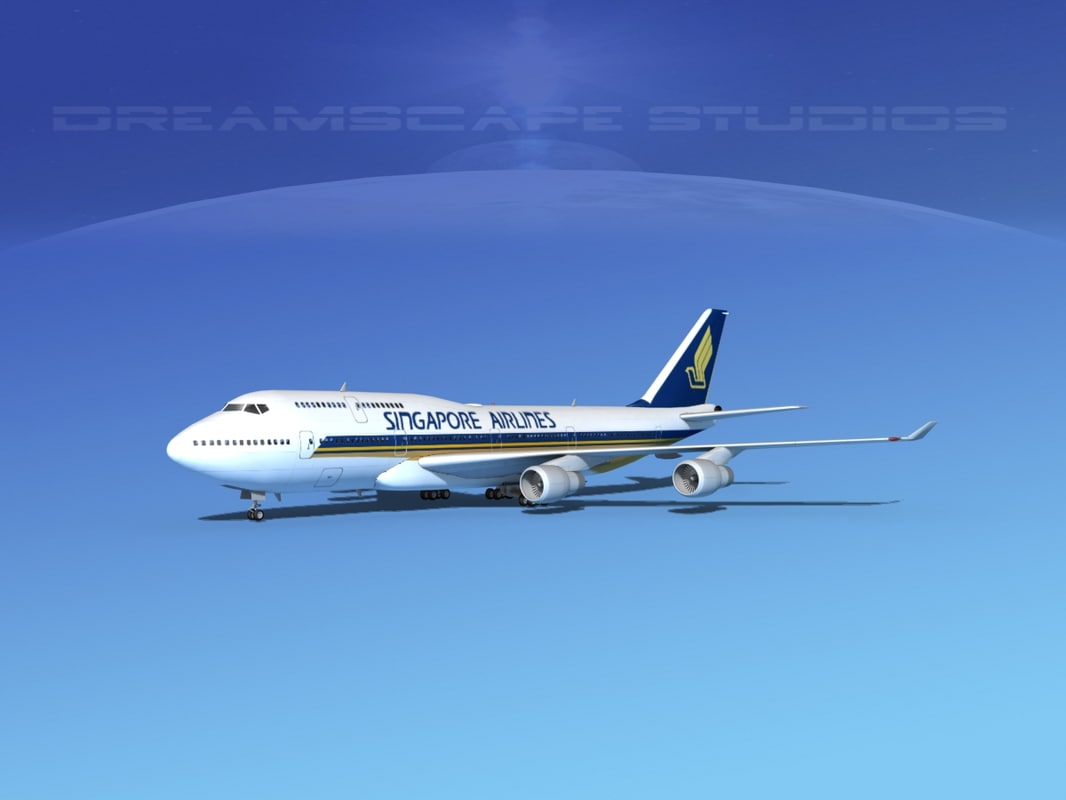 3d airline boeing 747-400 747 aircraft