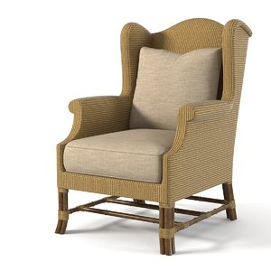 baker rattan wing chair 3d model