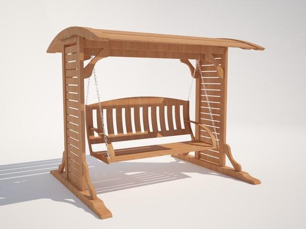 wooden swing 3d model