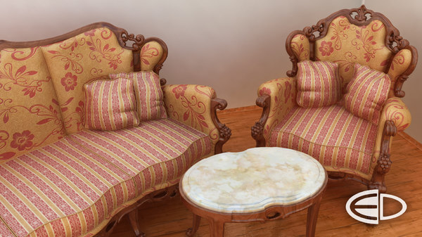 classic chair set 3d max