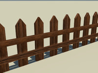 free fence wooden wood 3d model