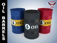 3d oil barrels model