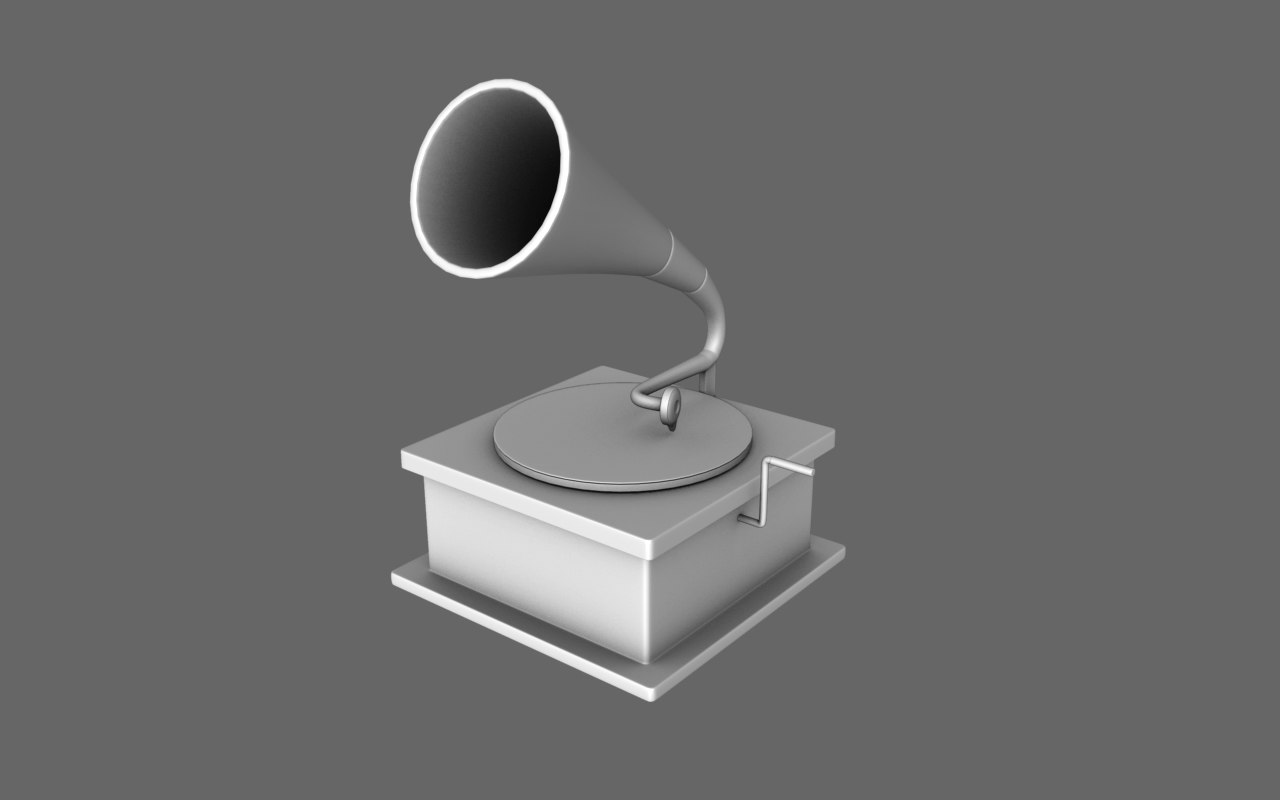 free obj model old gramophone record