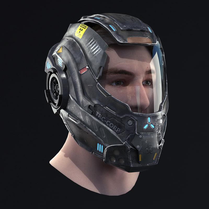 helmet head 3d max