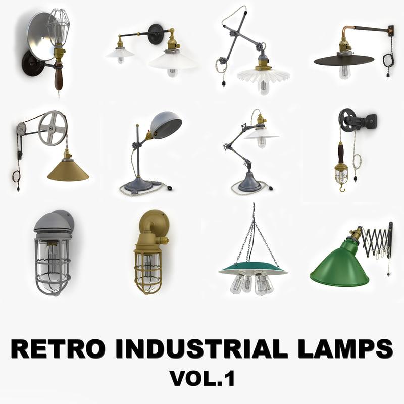 3dsmax retro industrial lamps vol 1