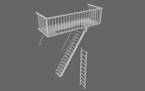 balcony polygonal 3d obj