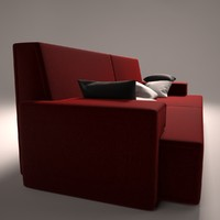 3d model red suede couch pillows