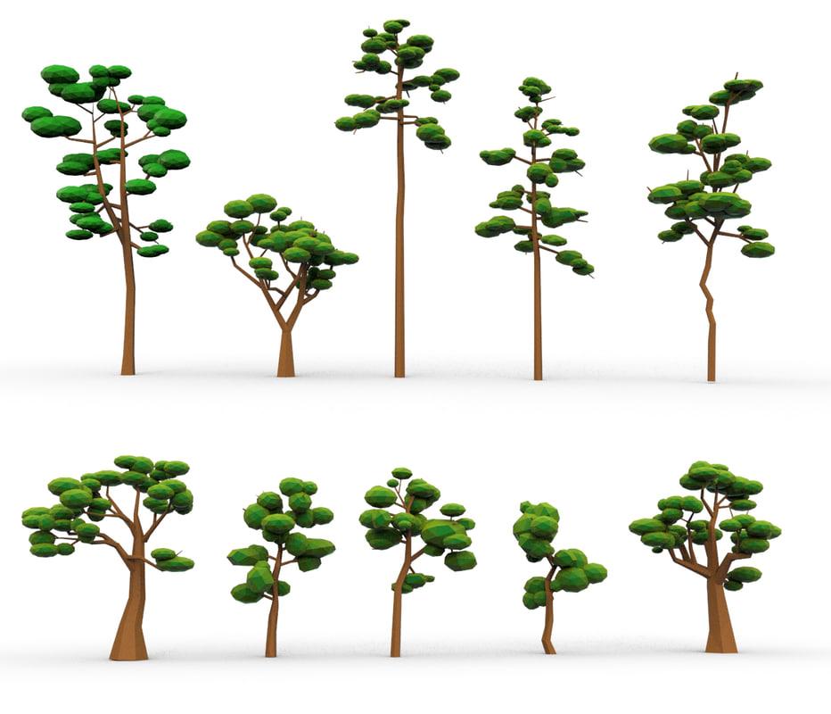tree 10 animation cartoon 3d model