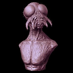 bust flyman creature 3d model