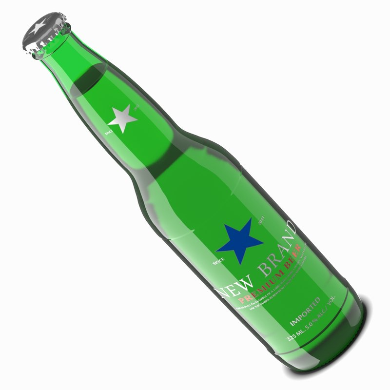 3d model beer bottle green